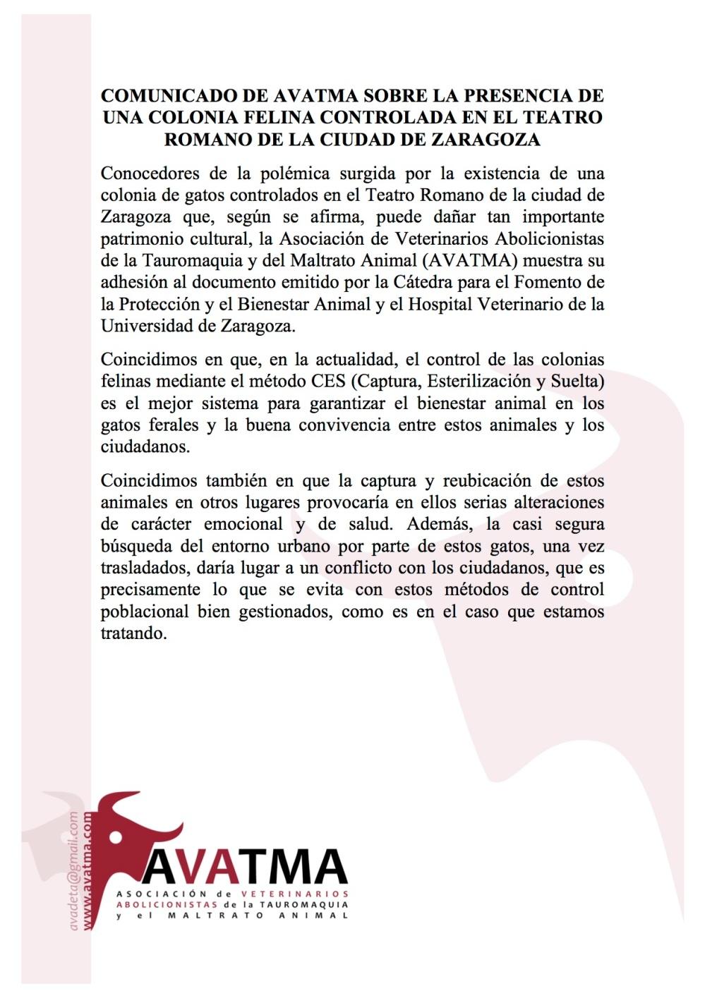 COMUNICADO DE AVATMA 1 SOBRE LA PRESENCIA DE UNA COLONIA FELINA CONTROLADA EN EL TEATRO ROMANO DE LA CIUDAD DE ZARAGOZA