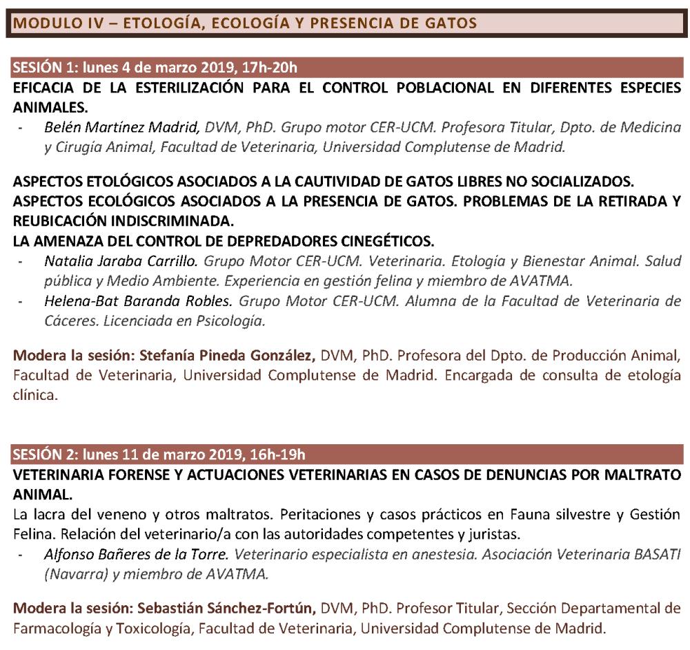 Programa. CICLO FORMATIVO. GESTIÓN ÉTICA Y SANITARIA DE COLONIAS FELINAS. CER-UCM (CURSO 2018-2019)_Página_5