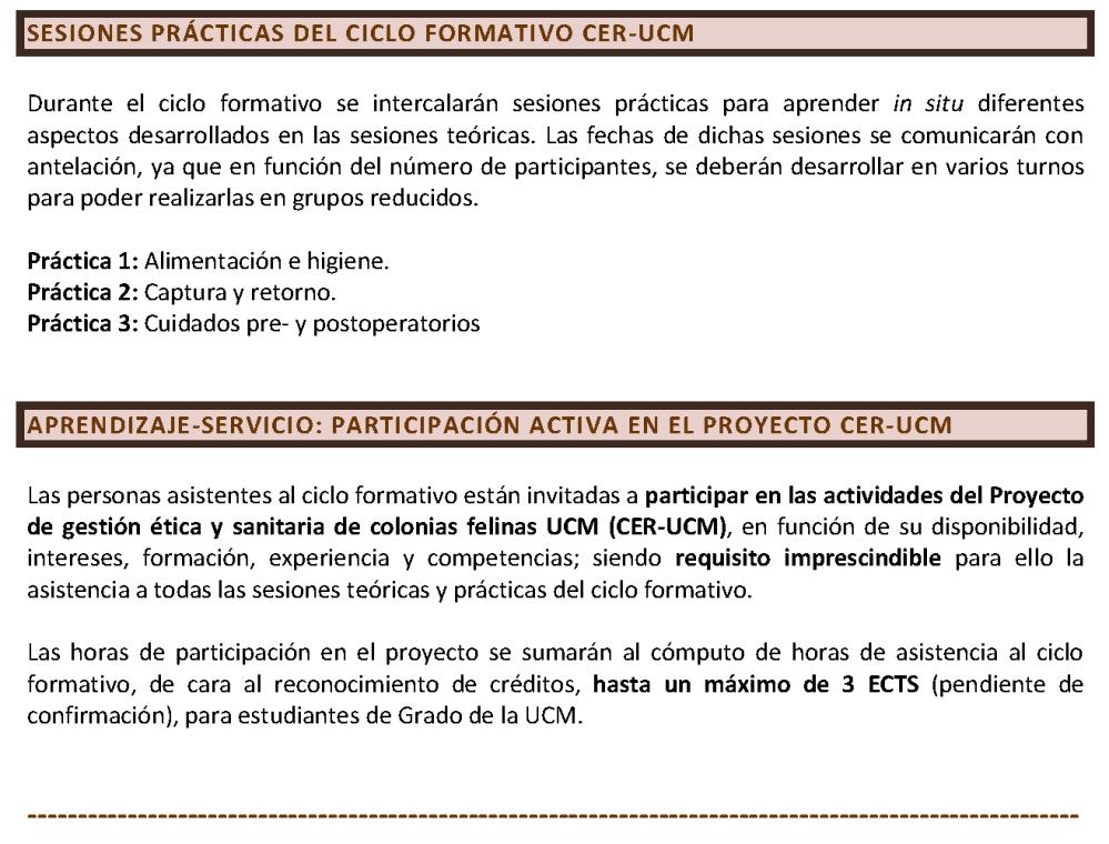Programa. CICLO FORMATIVO. GESTIÓN ÉTICA Y SANITARIA DE COLONIAS FELINAS. CER-UCM (CURSO 2018-2019)_Página_7
